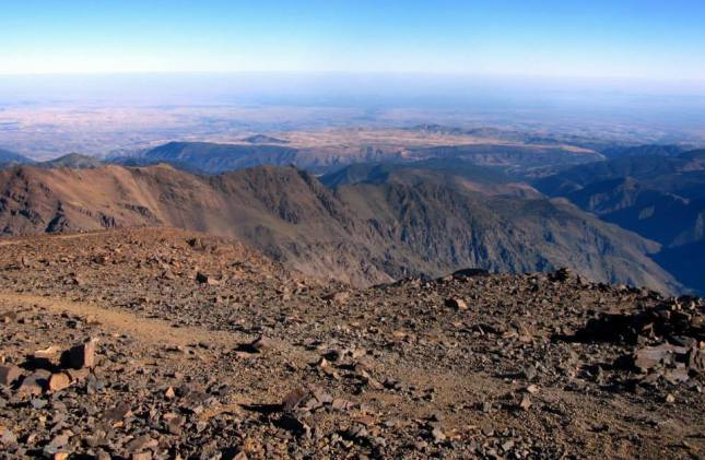 Panoramic view from the summit on descent