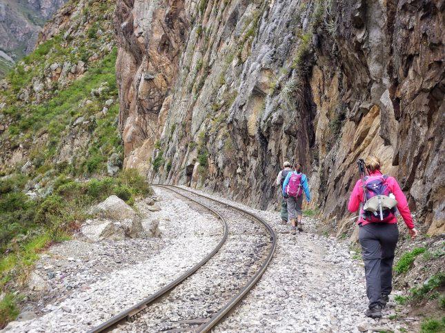 Walking along railway tracks
