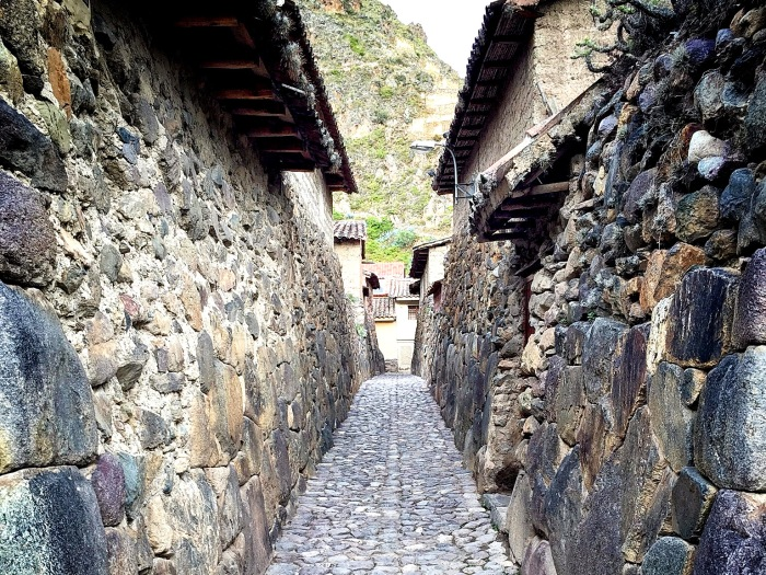 A typical Incan street in Ollantaytambo