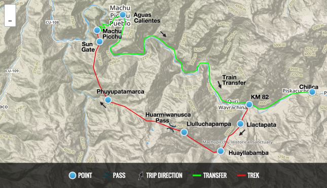 The Inca Trail Route Map