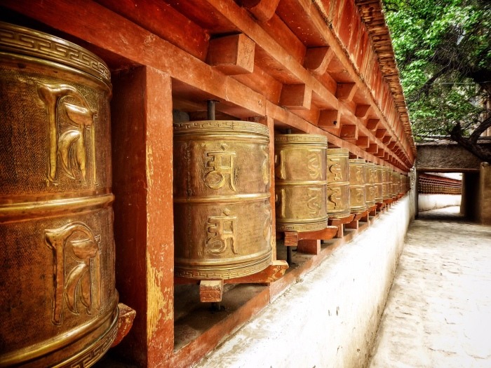 Prayer wheels at Alchi Monastery